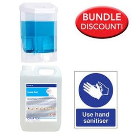 5L Alcohol Sanitiser, Manual Dispenser Kit + Free Sign