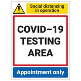 COVID-19 Testing Area - Appointment Only - Portrait