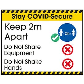 Stay COVID-Secure Keep 2m Apart Label