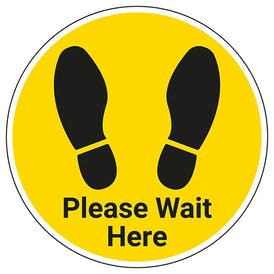 Please Wait Here With Footprint Temporary Floor Sticker