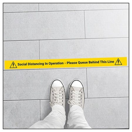 5 Pack - Queue Behind Line Temporary Floor Markers