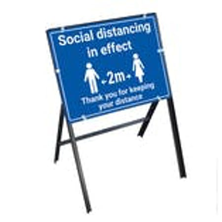 Social Distancing In Effect Thank You Stanchion Frame