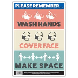 Wash Hands, Cover Face, Make Space Poster
