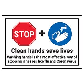 STOP/Clean Hands Save Lives/Washing Hands Is The...