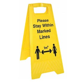 Please Stay Within Marked Lines - 1M - Floor Stand