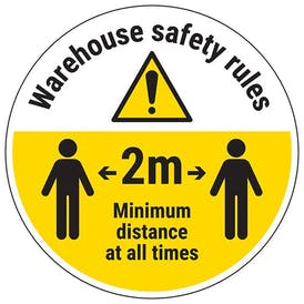 Warehouse Rules - Keep 2m Distance Temporary Floor Sticker