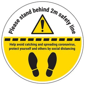 Stand 2m Behind The Line Temporary Floor Sticker