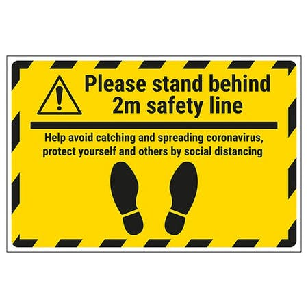 Please Stand Behind 2m Safety Line Temporary Floor Sticker