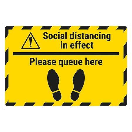 Social Distancing In Effect - Please Queue Temporary Floor Sticker
