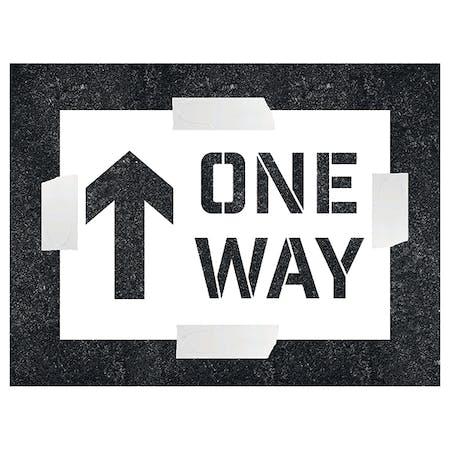 One Way With Arrow Ahead Stencil