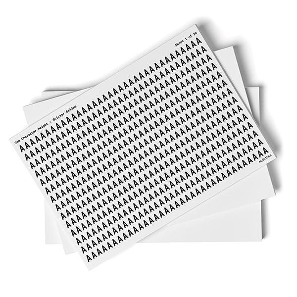 White A-Z Letter Packs - 9mm Character Height