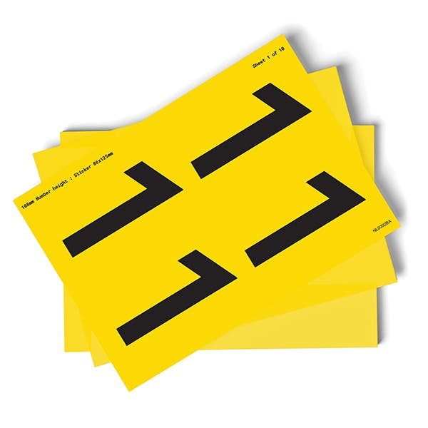 Yellow 0-9 Number Packs - 108mm Character Height