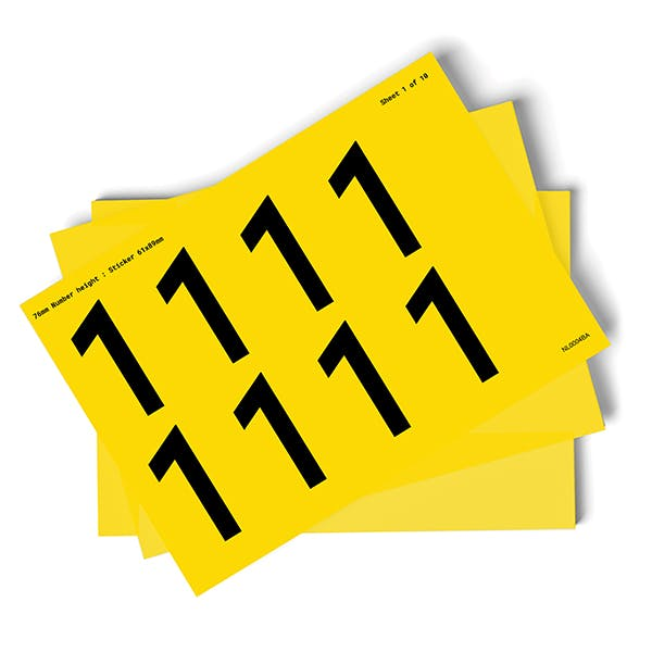 Yellow 0-9 Number Packs - 76mm Character Height