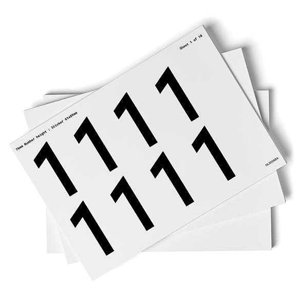 White 0-9 Number Packs - 76mm Character Height