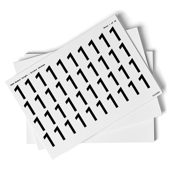 White 0-9 Number Packs - 36mm Character Height
