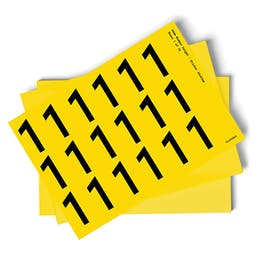 Yellow 0-9 Number Packs - 54mm Character Height