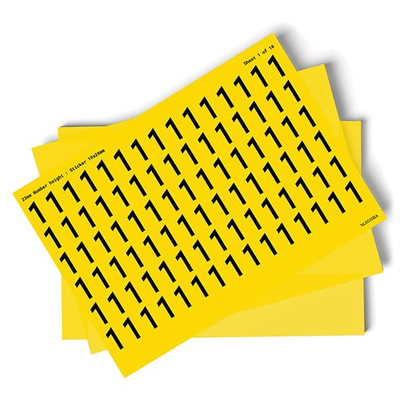 Yellow 0-9 Number Packs - 23mm Character Height