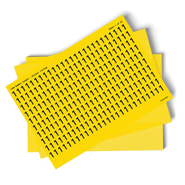 Yellow 0-9 Number Packs - 13mm Character Height