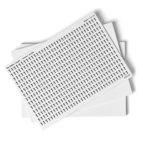 White 0-9 Number Packs - 9mm Character Height