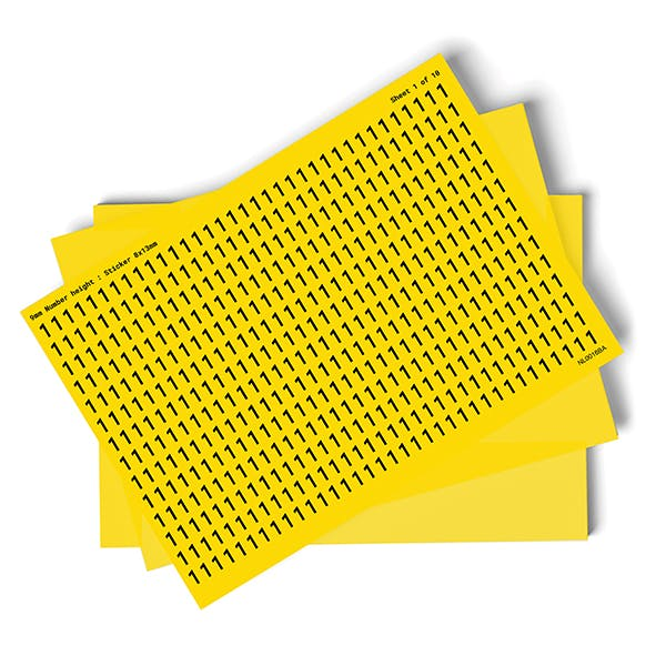 Yellow 0-9 Number Packs - 9mm Character Height