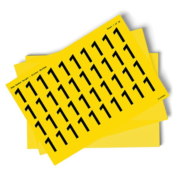 Yellow 0-9 Number Packs - 36mm Character Height
