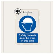 Safety Helmets Must Be Worn - Talking Safety Sign