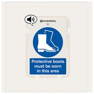 Protective Boots Must Be Worn - Talking Safety Sign