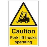 Eco-Friendly Caution Fork Lift Trucks Operating - Portrait