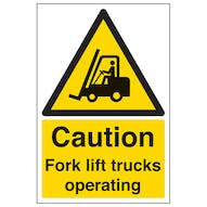 Caution Fork Lift Trucks Operating - Portrait