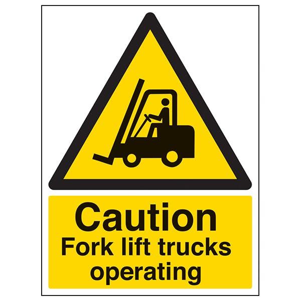 Caution Fork Lift Trucks Operating - Portrait