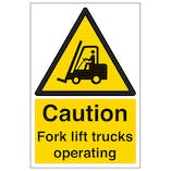 Caution Fork Lift Trucks - Polycarbonate
