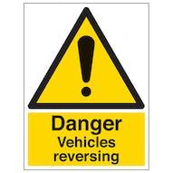 Danger Vehicles Reversing - Portrait