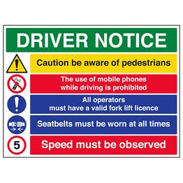 Driver Notice / 5mph Speed Must Be Observed