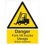 English/Polish - Danger Fork lift Trucks