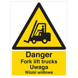 English/Polish - Danger Fork lift Trucks