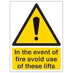 In The Event Of Fire Avoid Use Of These Lifts - Portrait