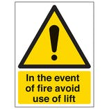In The Event Of Fire Avoid Use Of Lift - Portrait