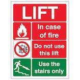 Lift Fire Notice - Portrait