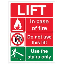 Lift Fire Notice - Portrait