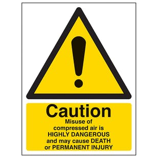 Caution Misuse Of Compressed Air - Portrait