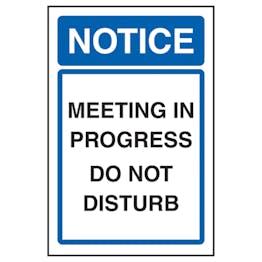 Notice Meeting In Progress Do Not Disturb
