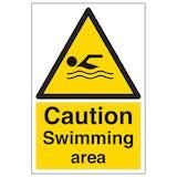 Caution Swimming Area - Portrait