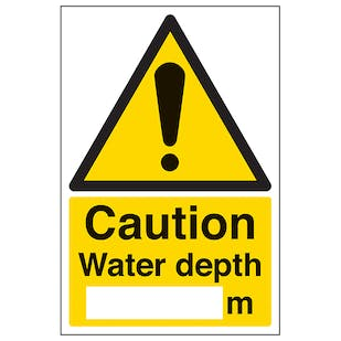 Caution Water Depth - Portrait