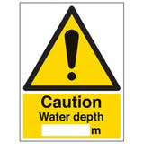 Caution Water Depth - Portrait