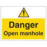 Danger Open Manhole - Large Landscape