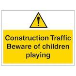 Construction Traffic Beware Of Children - Large Landscape