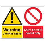 Warning Confined Space / Entry By Work Permit Only