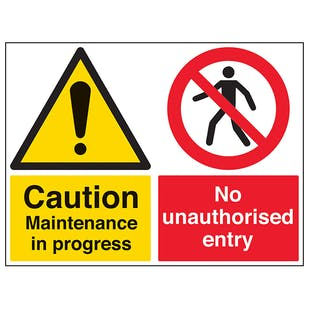 Caution Maintenance/No Entry - Large Landscape