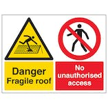 Danger Fragile Roof / No Unauthorised Access - Large Landscape