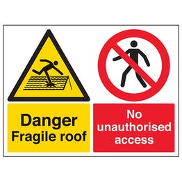 Danger Fragile Roof / No Unauthorised Access - Large Landscape